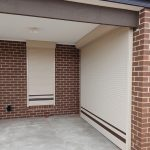 Indoor security roller shutter with brown stripes