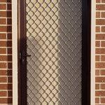 cream white brown door security door with roller shutter