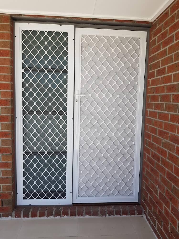 Window Roller Shutters Melbourne – Melbourne Roller Shutters - white security door net design - Aus Window Roller Shutters