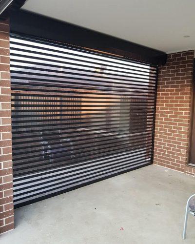 inside view of transparent stripe roller shutter